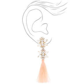 "Crystal 3.5"" Tassel Drop Earrings - Blush,"