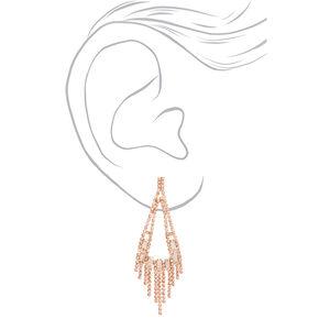 """Rose Gold Rhinestone 3"""" Rectangle Chandelier Drop Earrings,"""