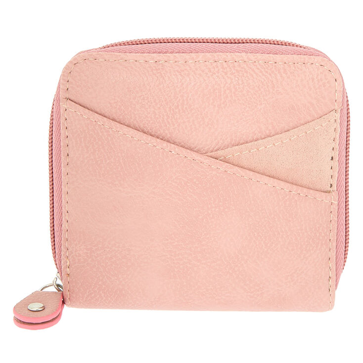 Faux Leather Mini Zip Wallet - Pink,