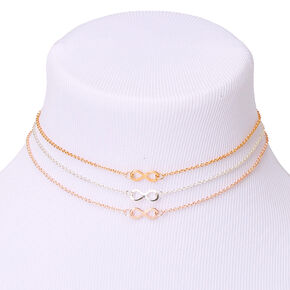 Mixed Metal Infinity Choker Necklaces - 3 Pack,