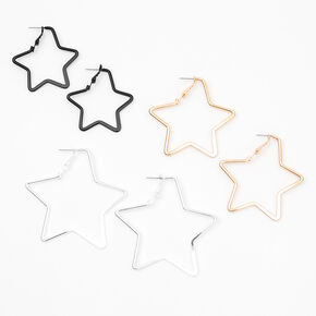 Mixed Metal Graduated Star Hoop Earrings - 3 Pack,