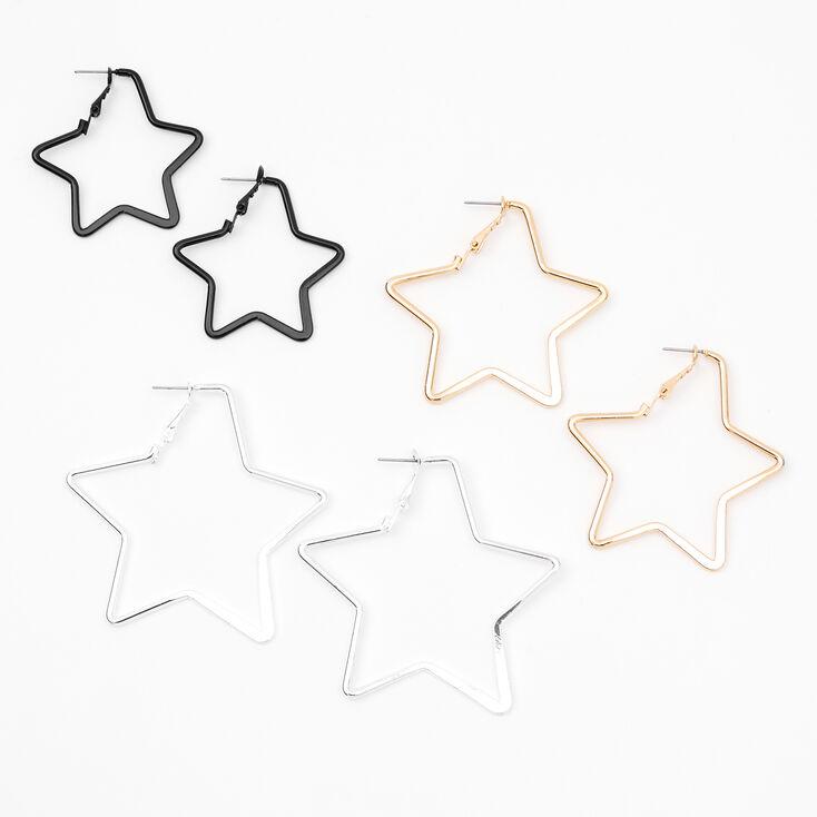 Mixed Metal Graduated Star Hoop Earrings - 3 Pack,