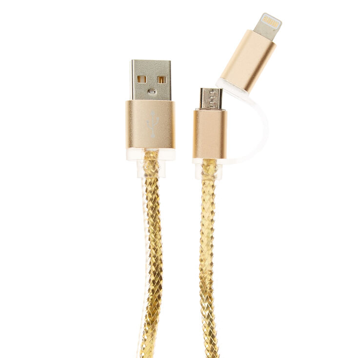 Metallic Gold Lightning USB Charger,