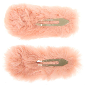 Faux Fur Snap Hair Clips - Pink, 2 Pack,