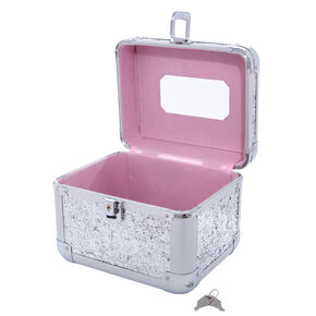 Large Silver Glitter Lock Box,