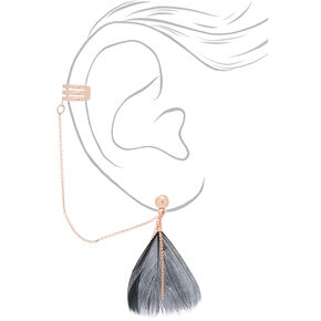 "Rose Gold 1.5"" Feather Connector Drop Earrings - Black,"