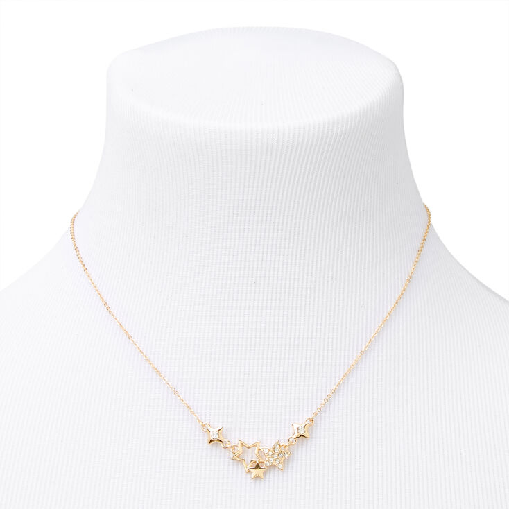 Gold Rhinestone Star Clusters Necklace & Earring Set - 2 Pack,