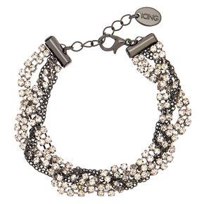 Hematite Rhinestone Braided Chain Bracelet,