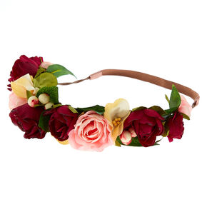 Large Rose Flower Crown - Burgundy,
