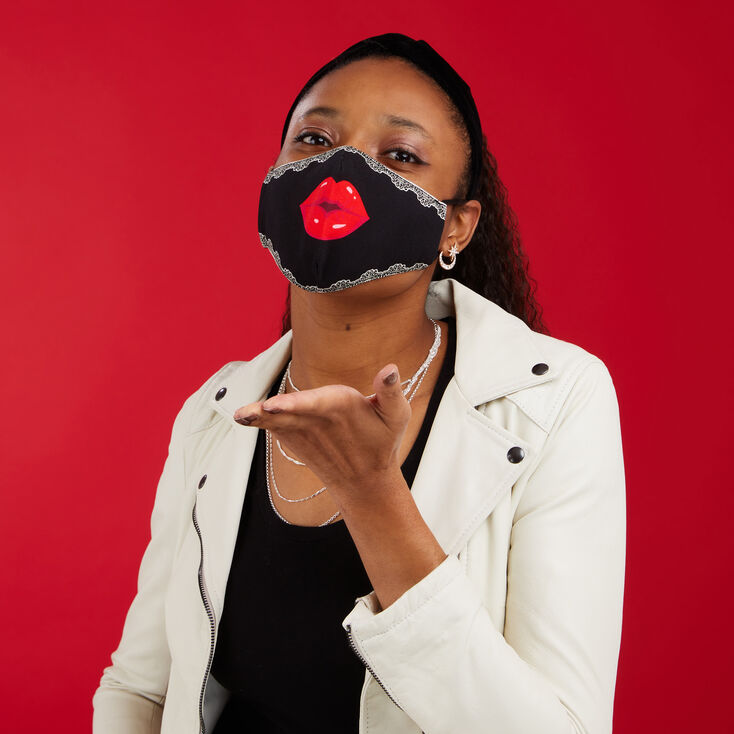Cotton Big Red Lips Face Mask - Adult,