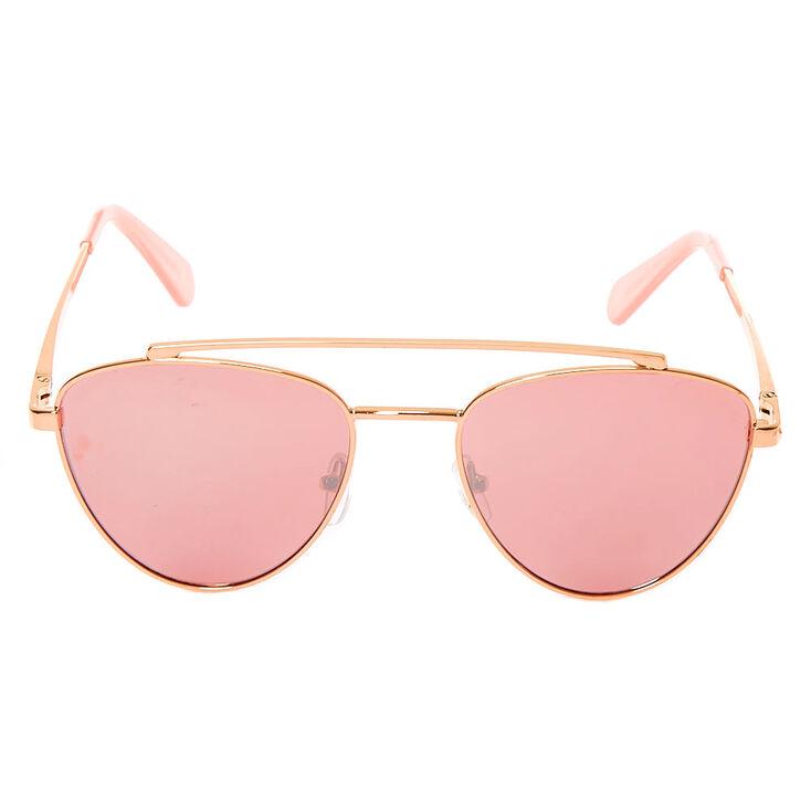 Mod Aviator Browbar Sunglasses - Rose Gold,