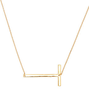 Oversized Initial Pendant Necklace - T,