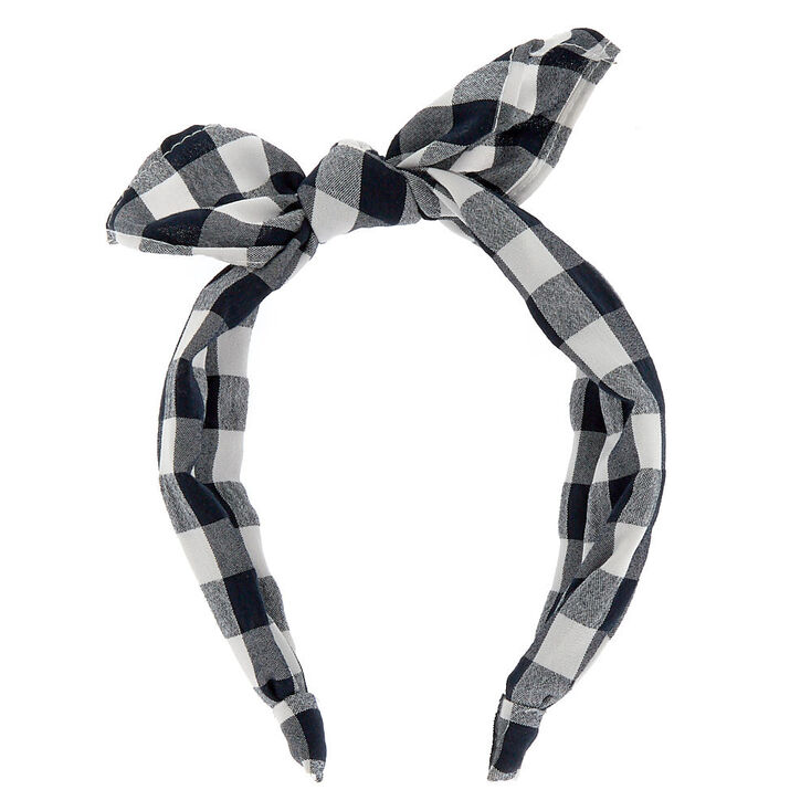Gingham Knotted Bow Headband - Black,