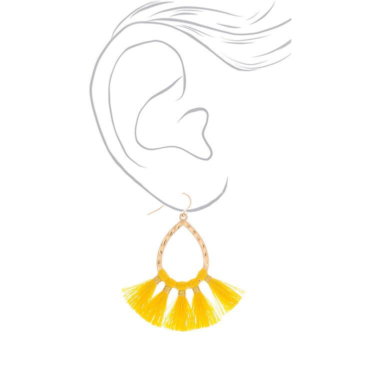 """Gold 2"""" Tassel Teardrop Drop Earrings - Yellow,"""