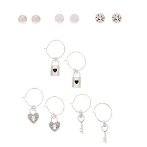 Silver Key Mixed Earrings - 6 Pack,