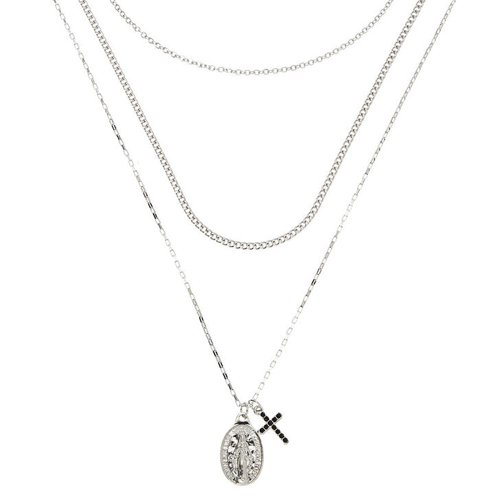 Silver Rosary Multi Strand Necklace,