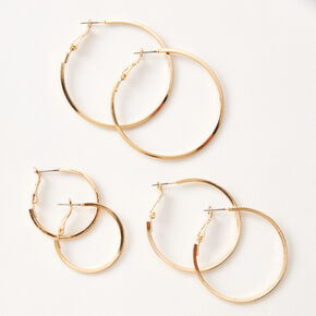 Gold Hoop Earrings - 25MM, 35MM, 45MM,
