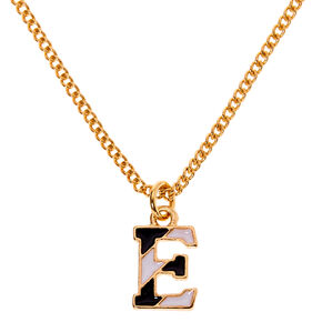 Gold Striped Initial Pendant Necklace - E,