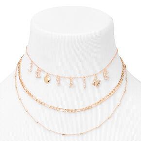 Gold Je T'aime Three-Row Choker Necklace,