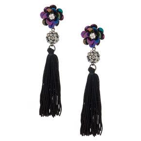"""3.5"""" Floral Sequin Tassel Earrings - Black,"""