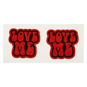 Red Glitter LOVE ME Peel & Stick Pasties,