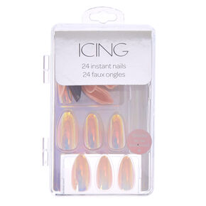 Holographic & Iridescent Faux Nail Set - Pink, 24 Pack,