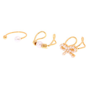 3 Pack Gold and Pearl Ear Cuffs,