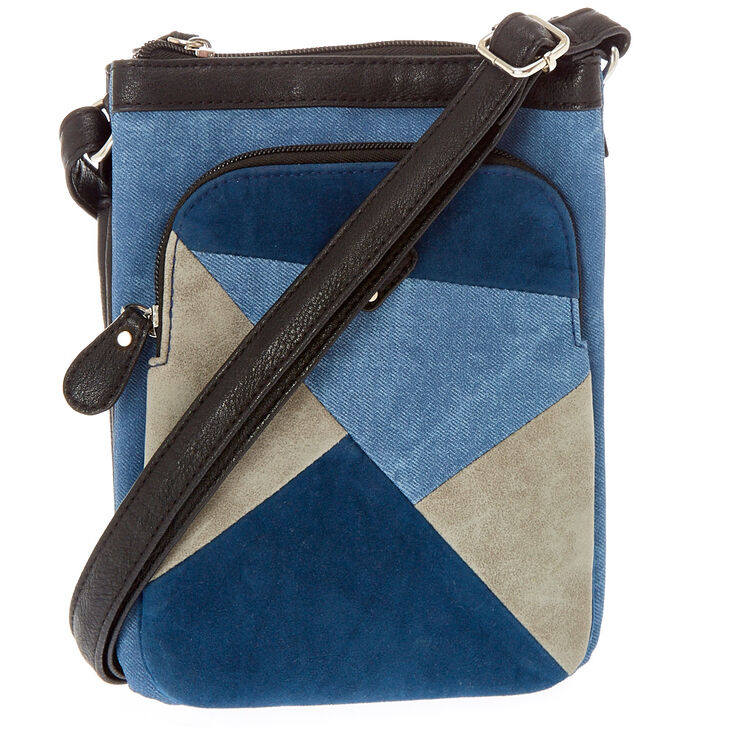 Denim Patchwork Crossbody Passport Purse,