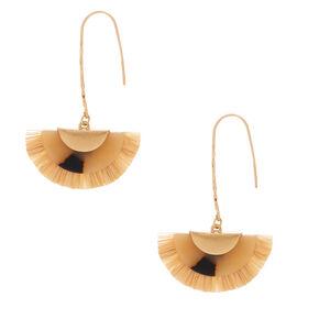"Gold 2.5"" Resin Tortoiseshell & Raffia Drop Earrings,"