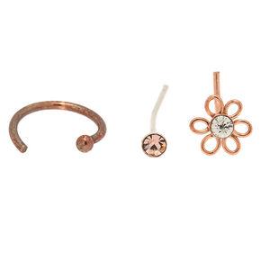 Rose Gold Sterling Silver 22G Flower Nose Studs & Ring Set - 3 Pack,