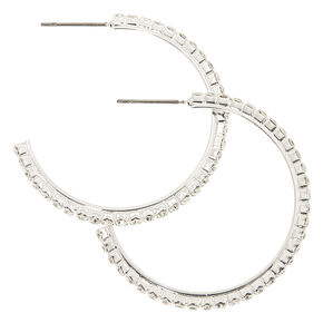 30MM Silver Rhinestone Half Hoop Earrings,