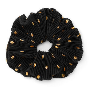 Giant Pleated Polka Dot Hair Scrunchie - Black,
