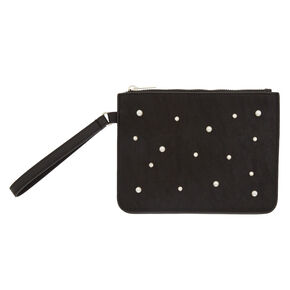 91ccae24c3d1 Black Pearl and Crystal Faux Leather Wristlet