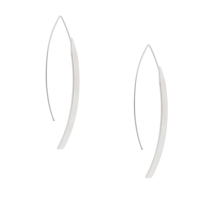 Curved Silver Bar Drop Earrings,