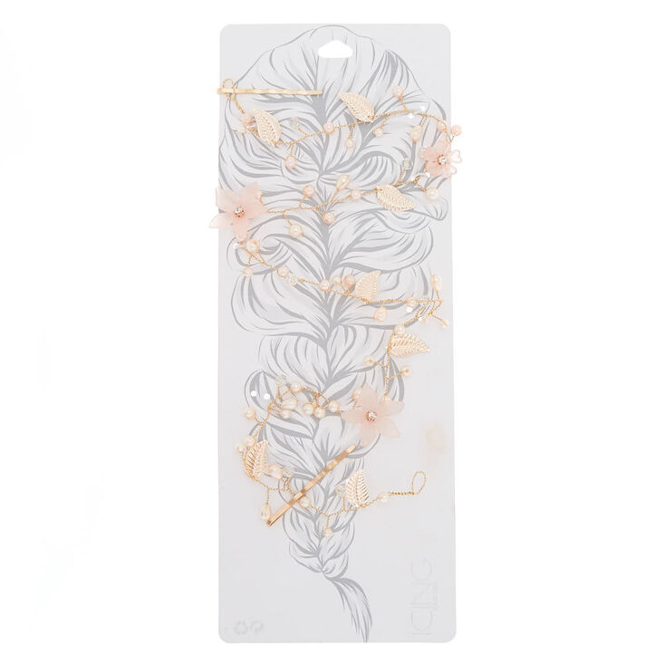 Rose Gold Frosted Flower Hair Vine,