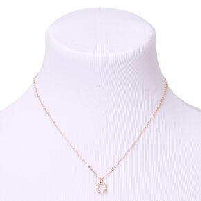 Rose Gold Cubic Zirconia Burst Pendant Necklace,