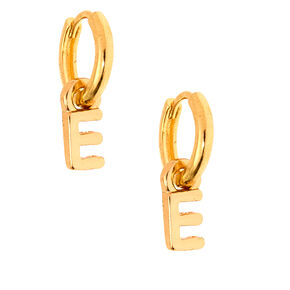 Gold 10MM Initial Huggie Hoop Earrings - E,