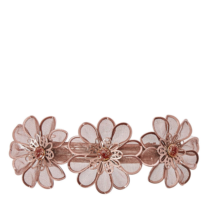 Rose Gold Mesh Flower Trio Hair Clip,