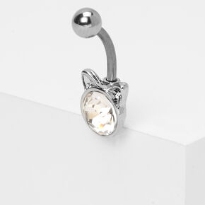 Silver14G Crystal Cat Belly Ring,