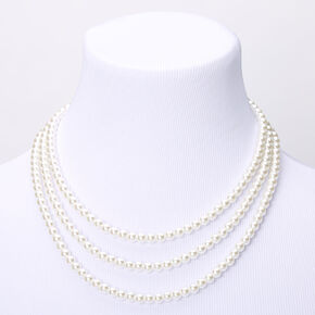 Triple Row Layered Pearl Statement Necklace - White,