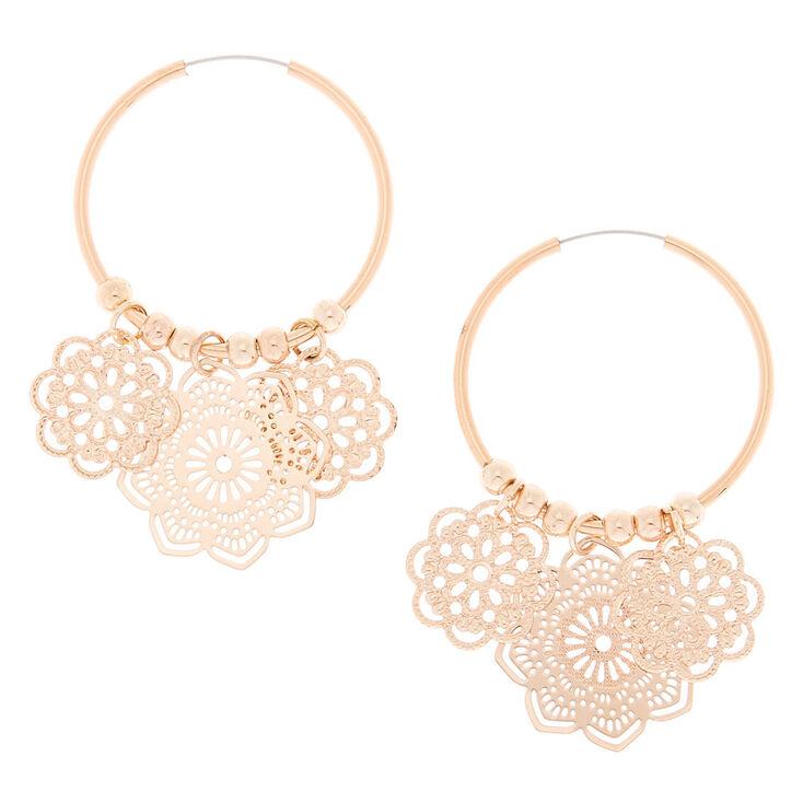 Rose Gold 25MM Filigree Flower Hoop Earrings,