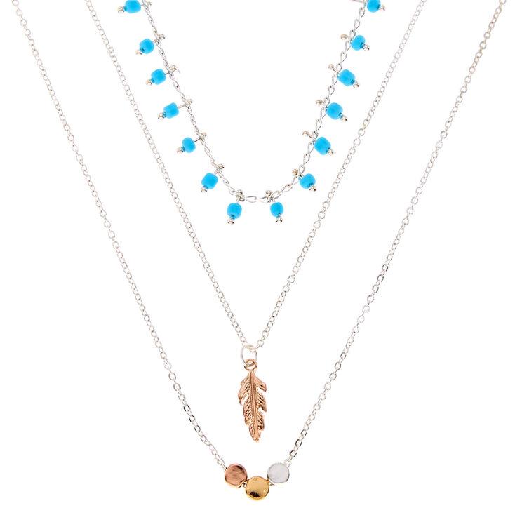 Turquoise & Silver Dainty Boho Necklace Set,