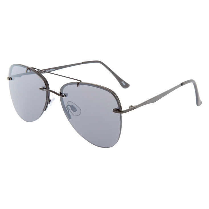 Black Rimless Aviator Sunglasses,