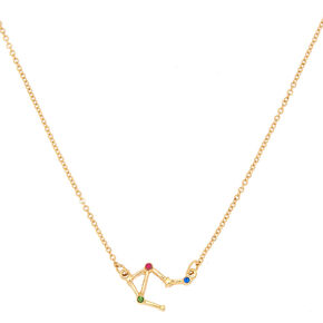 Gold Zodiac Constellation Pendant Necklace - Libra,