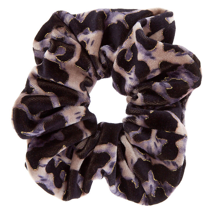 Leopard Velvet Hair Scrunchie - Gray,
