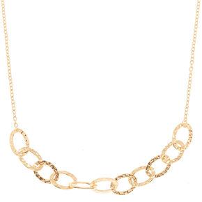 Gold Hammered Circle Chain Statement Necklace,