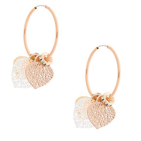 Rose Gold 25MM Filigree Leaf Hoop Earrings,