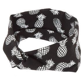 Wide Jersey Metallic Pineapple Headwrap - Black,