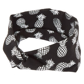 Wide Jersey Metallic Pineapple Headwrap - Black,