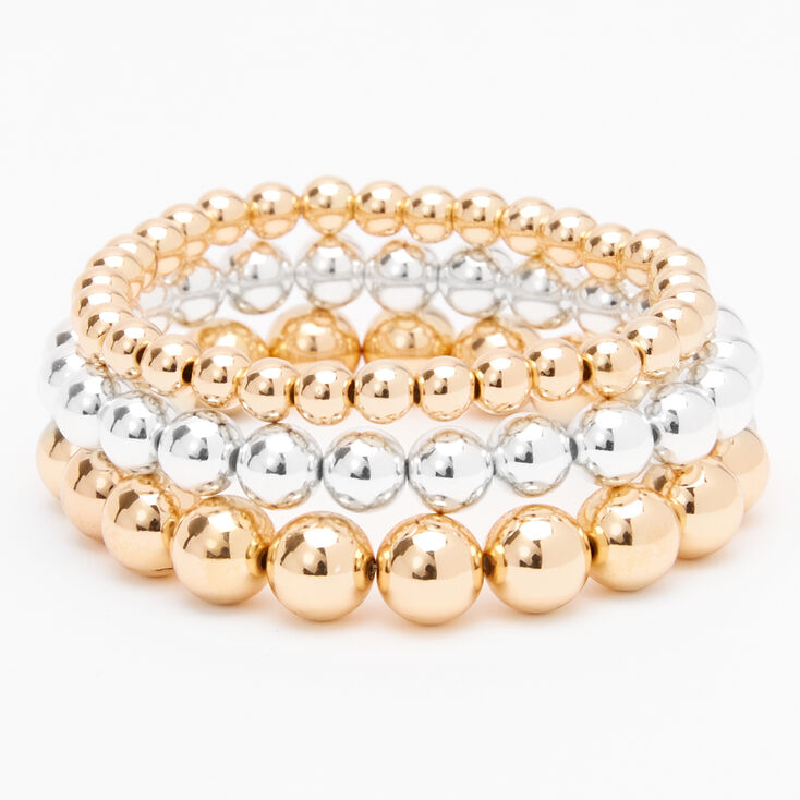 Mixed Metal Beaded Stretch Bracelets - 3 Pack,